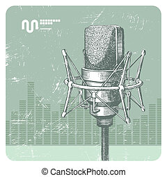 Hand drawn vector studio condenser microphone
