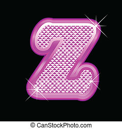Letter Z with pink bling pattern