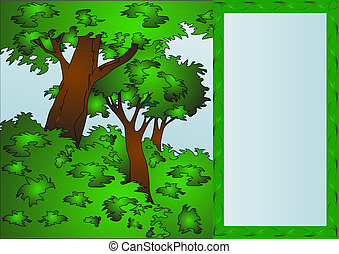 frame on background tree and bush by summer. - The...