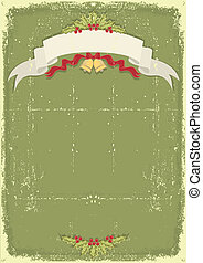 Vintage christmas card with scroll and text celebration on...