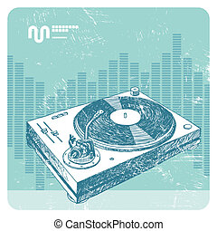 Hand drawn vector turntable