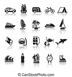 Signs. Tourism. Travel. Sports. Fourth set black icons with...