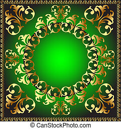 round frame with vegetable pattern - illustration gold(en)...