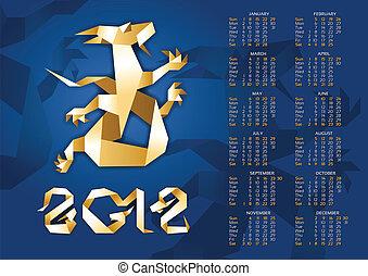 Calendar - Origami Dragon 2012 Year