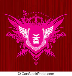 ベクトル, heraldic, 紋章, ゴリラ, 頭