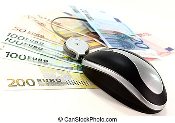 online banking - Computer mouse on Euro notes