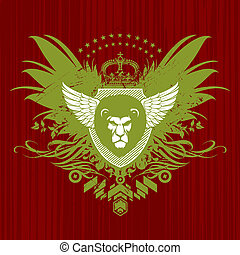 Vector Heraldic emblem with lion head