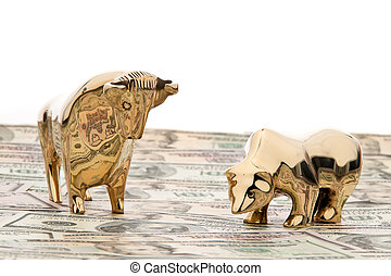 dollar currency notes with bull and bear