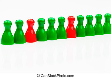 red-green coalition government - red and green characters...