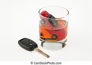 alcohol and car. - symbol for drunken driving. a car and a...