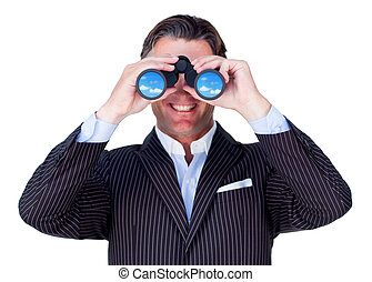 Smiling businessman using binoculars