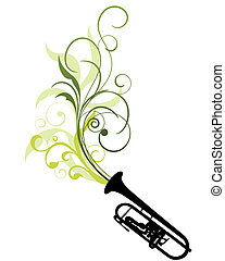floral background - Wind instrument with Floral border for...