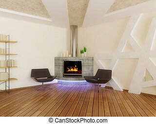 interior - concrete fireplace and armchairs in room with...