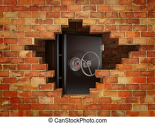 bricks wall - hole in bricks wall and safe