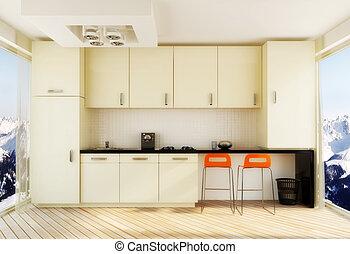 kitchen - white kitchen with orange chairs