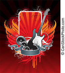 Illustration on a musical theme with electro-guitar