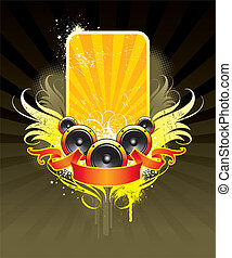 Vector illustration on a musical theme with loudspeakers
