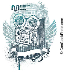 Vector illustration with hand drawn tape recorder