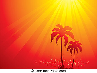 Vector illustration with palm trees & sunlight