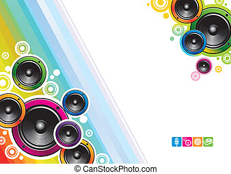 Abstract vector colorful background with loudspeakers & musical icons