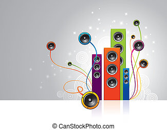 Vector illustration - colorful loudspeakers