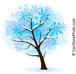 Stylized Winter Fruit Tree. Illustration on white...