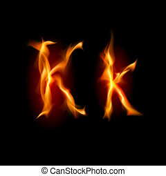 Fiery font Letter K Illustration on black background