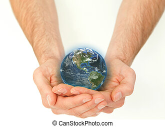 Masculine hands holding a planet