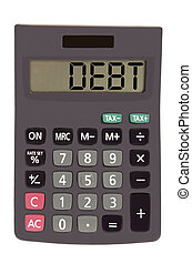 """Old calculator on white background showing text """"debt"""""""