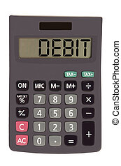 """Old calculator on white background showing text """"debit"""""""