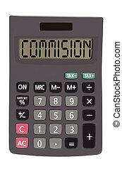 "Old calculator on white background showing text ""commision""..."
