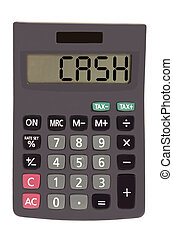 """Old calculator on white background showing text """"cash"""""""