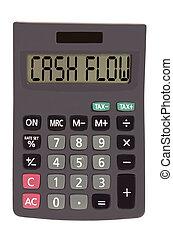 "Old calculator on white background showing text ""cash flow""..."