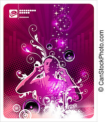 Man with headphones listens to music - vector ornate illustration