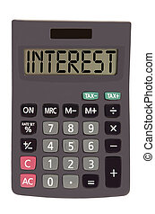 "Old calculator on white background showing text ""interest"" -..."