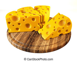 cheese - yellow cheese isolated on a white background