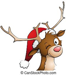 Reindeer with christmas cap on