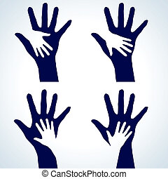 Set of Hands silhouette - Set of Two hands silhouette...
