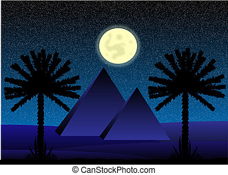 Sahara desert with egyptian pyramids at night - vector...