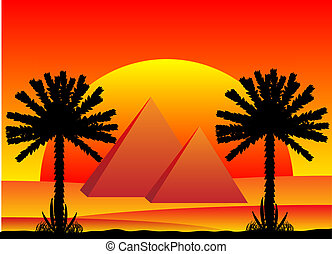 Sahara desert with egyptian pyramids at sunset - vector...