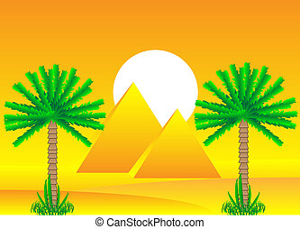 Sahara desert with egyptian pyramids by day - vector...