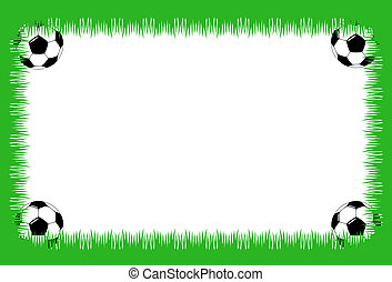 Soccer card - Sheet with grass and soccer balls in corners
