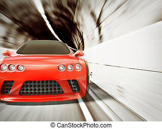 supercar - red supercar with a black radiator grille in...