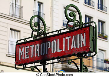 Paris, France - retro metro station sign. Subway train...