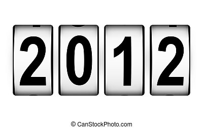 New Year 2012 counter isolated on white background