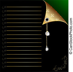 black-green paper with gold corner and crystal - background:...