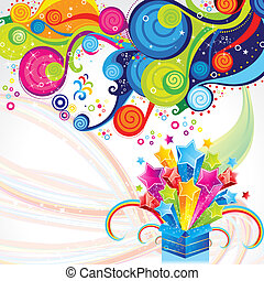abstract magic bix with magical wave vector illustration