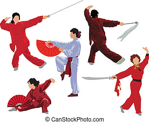 Tai-chi woman collection - Five woman poses of practicing...