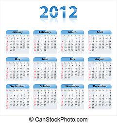 Calendar for 2012 - Blue glossy calendar for 2012. Sundays...