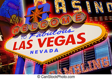 Las Vegas - A view of the Las Vegas sign and strip...